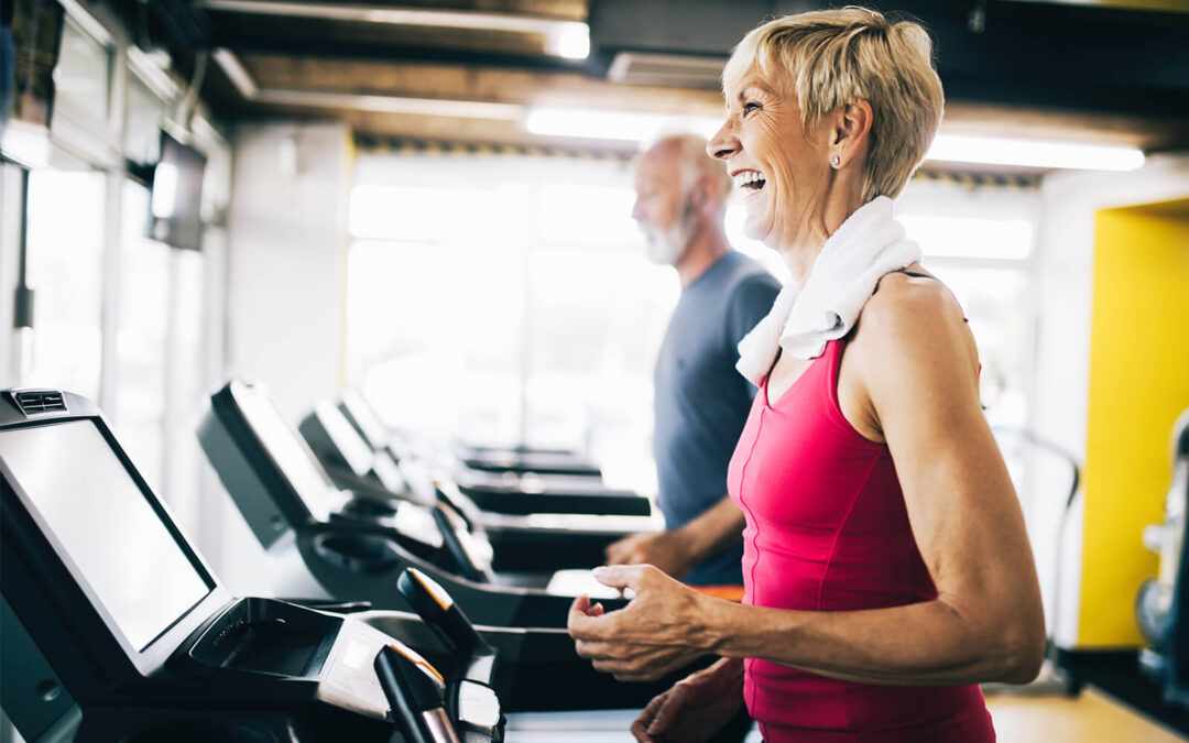 Woman and partner run on treadmill to increase their metabolic rate